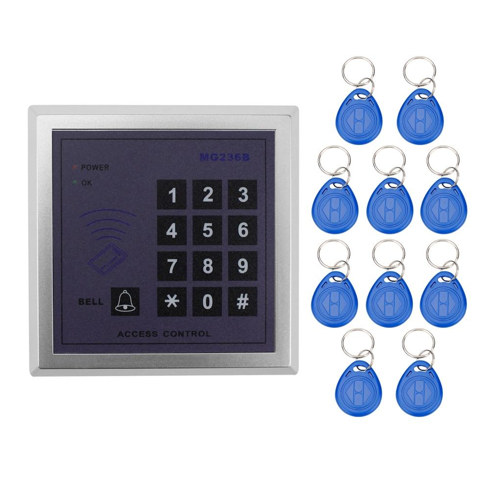 все цены на 13.56MHz 500 users RFID IC MF card reader smart doors lock access control system with digital keypad+10 key fobs for apartment онлайн