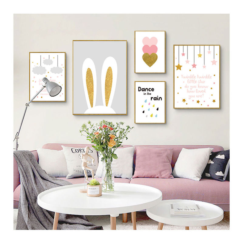US $4.38 49% OFF|Baby Girl Room Cartoon bunny ear Posters Wall Art Canvas  Painting Picture Nordic children Bedroom Decor Unframed-in Painting & ...
