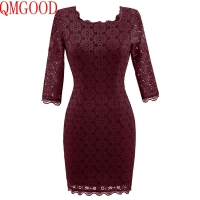 QMGOOD Lady Slim Pencil Lace Dresses 2017 Fashion Retro Elegant Pencil Dress High Quality Lace Stitching