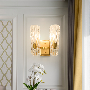 FSS Antique Brass Globe Pin-Up Wall Lamp Modern Luxury Gold LED Light Fixtures Living Room Clear Glass Lights Free Shipping