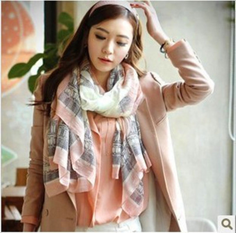 High quality Elegant Fashion Women Long Print Cotton Polyester   Scarf     Wrap   Ladies Shawl Large   Scarves   size 170*80cm for Spring