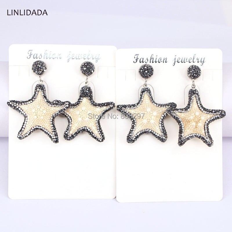 5Pairs Fashion Pave Crystal Rhinestone Starfish Dangle Earrings Handmade Jewelry Earring For Women