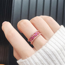 New Korean Cubic Zirconia Love Heart Double Layer Open Rings For Women Delicate Fashion Micro Paved Finger Ring Wedding Jewelry