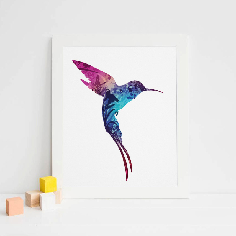 Fashion hummingbird art print bird wall hanging decor for Hummingbird decor