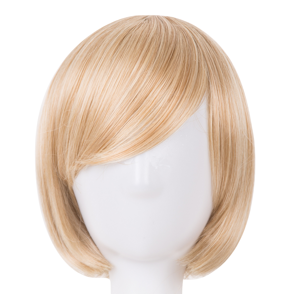 Fei-show Bob Wig Oblique Fringe Bangs Short Wavy Blonde Black Dark Brown Light Brown Synthetic Hair Women Hairpiece Cosplay Wigs Save 50-70% Hair Extensions & Wigs