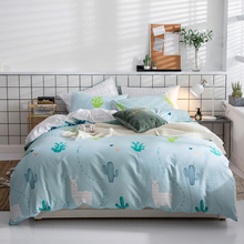 Papa&Mima Alpaca print Nordic style bedding set Sanded Cotton Queen King size flat sheet pillowcases duvet cover sets