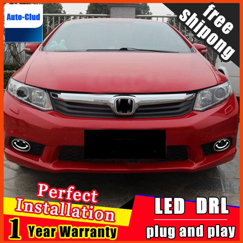 Car styling LED fog light for Honda Civic 2012 2016 LED Fog lamp with lens and LED day time running ligh LED DRL car 2 function
