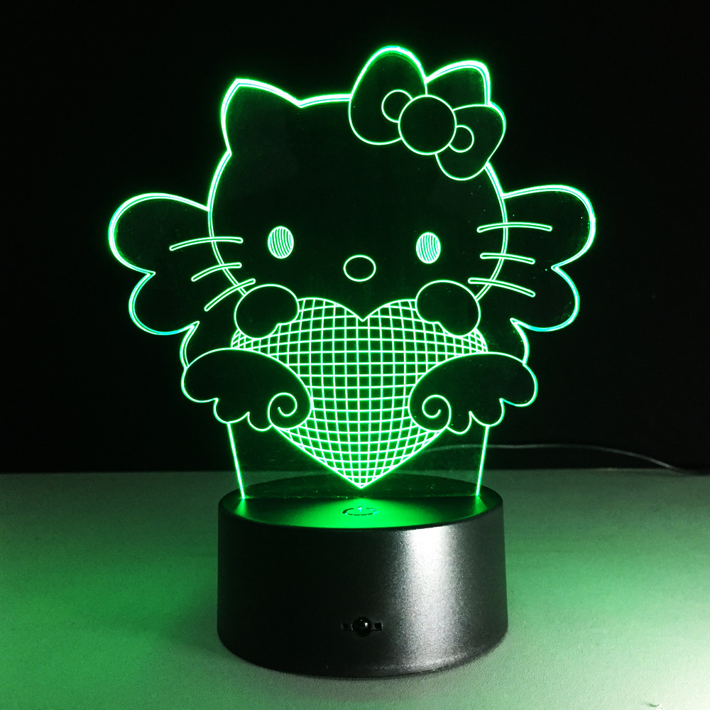 LED Hello Kitty 3D light 7 color gradient lightl visual three-dimensional lamp 216