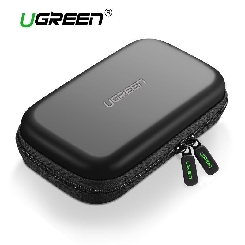 Ugreen Power Bank Case Hard Case Box for Samsung Seagate 2.5 Hard Drive Disk USB Cable External Storage Carrying SSD HDD Case
