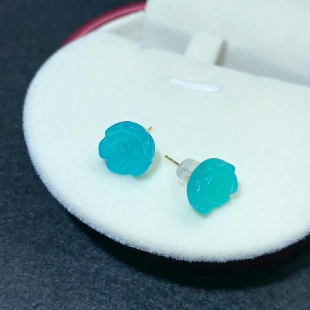shilovem 18K yellow Gold Natural real amazonite stud earrings fine Jewelry classic women gift plant party new myme10 510 58ths in Earrings from Jewelry Accessories