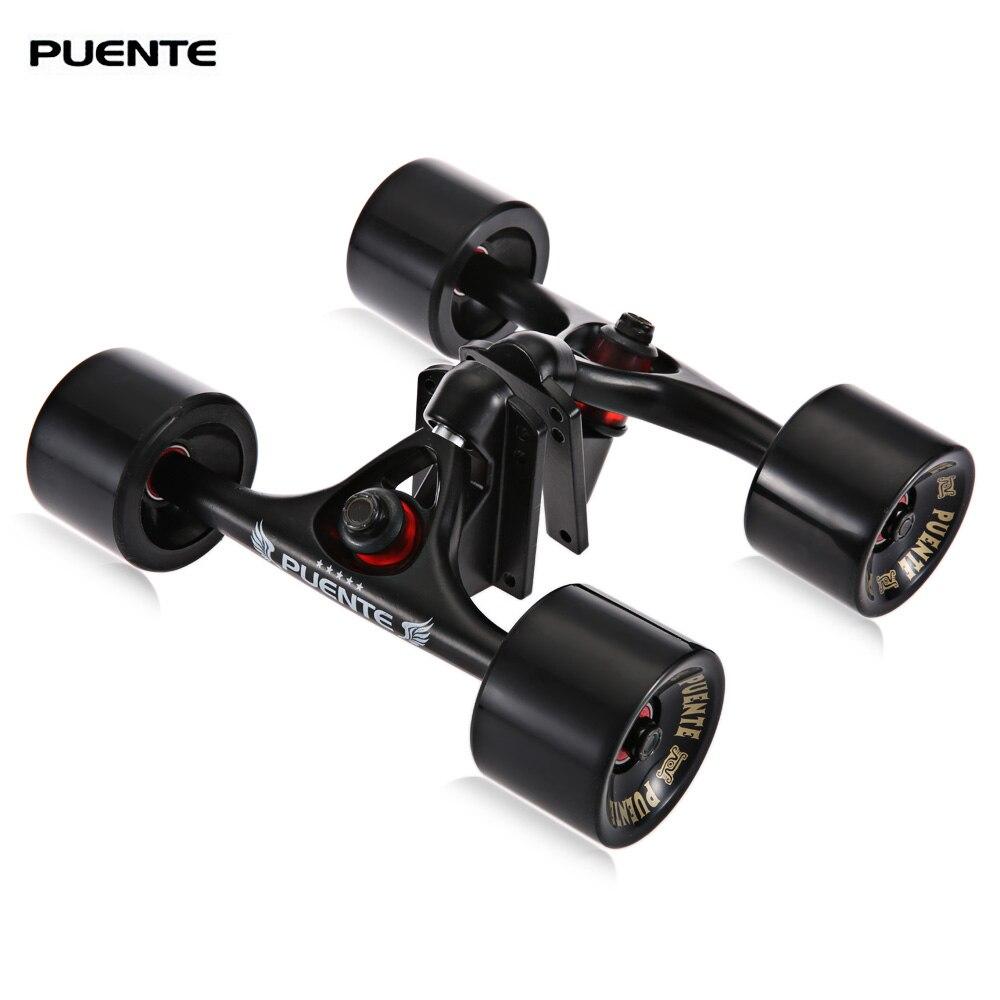 PUENTE 2 pièces/ensemble 10.24 pouces Skateboard camion avec patin roue Riser ABEC-9 roulement boulon écrou pour Skateboard extérieur