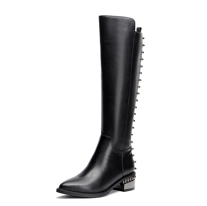 Women Autumn Winter Thick Mid Heel Genuine Leather Rivets Pointed Toe Side Zipper Fashion Knee High Boots Size 33-40 SXQ0905 women winter genuine leather low heel rivets pointed toe side zipper fashion over the knee boots plus size 33 43 sxq1013