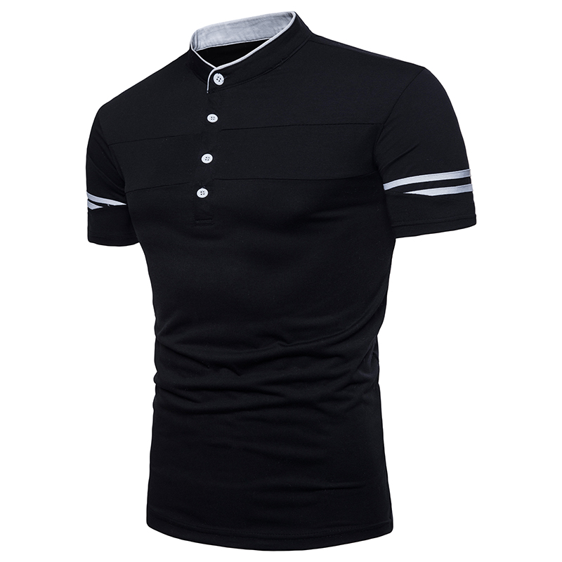 New Men Fashion Street Daily Polo Shirts Black White Color Contrast Patchwork US EU Size Stand