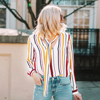 2018 Summer New Style Women Casual Chiffon Striped Blouses Loose V Neck Long Sleeve Shirts Ladies