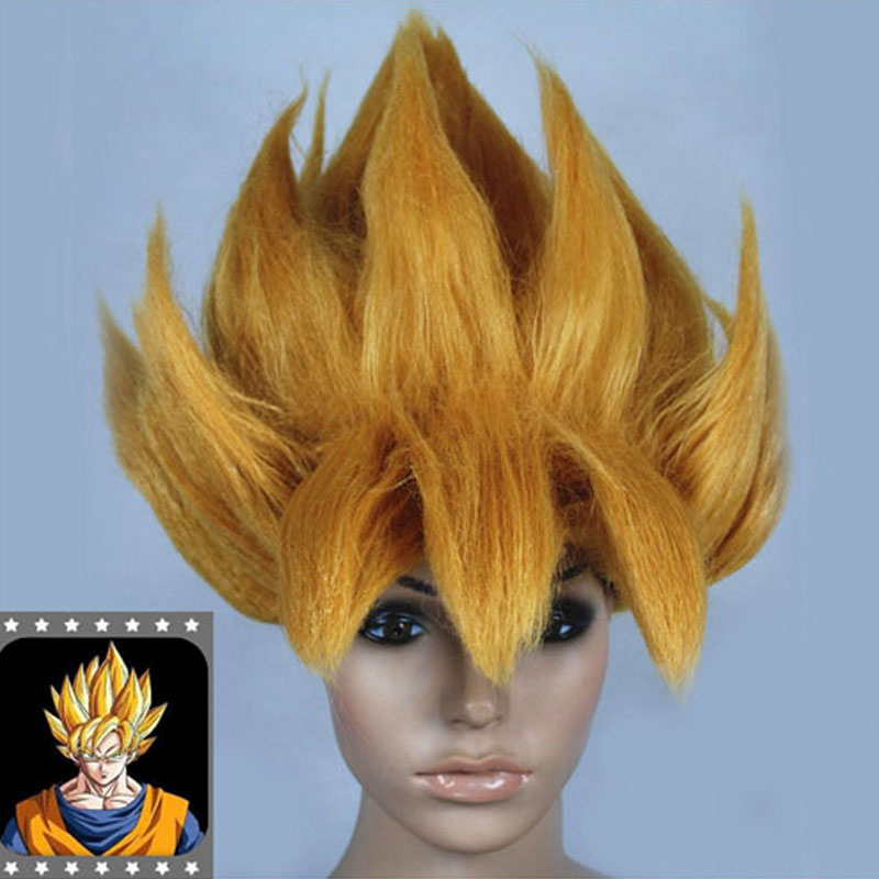 HOT Anime Cosplay Wig DRAGONBALL Z Wig Goku Saiyan Wig Hair Gold Party Halloween Cos Prop adult fashion sword art online long straight hair cosplay wig anime party free