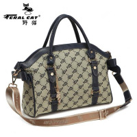 FERAL CAT 2017 New Tote High Quality Cotton Fabric Famous Brands Women's Luggage Plaid Handbags Single shoulder bag