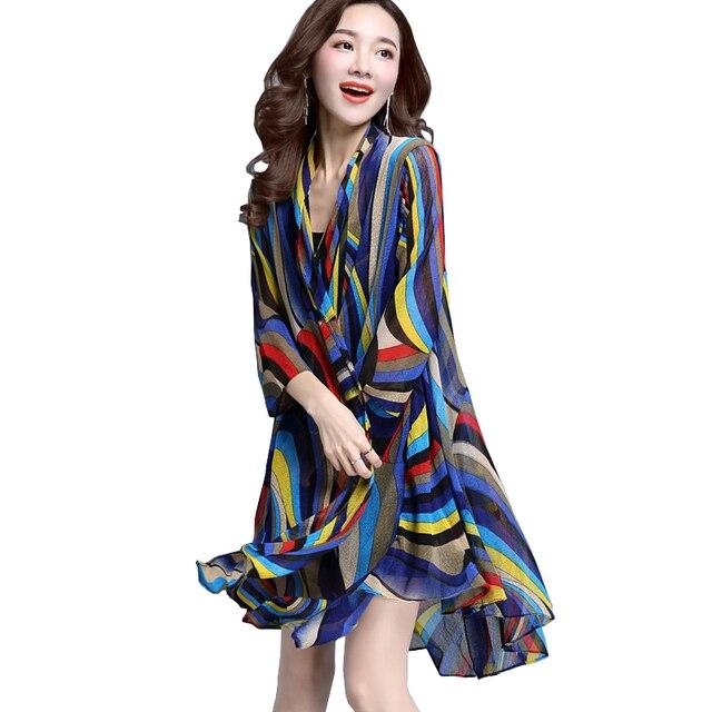 cde88dc4f92 Long Tunic Tops For Women Oversized 3xl Striped Shirt Chiffon Blouse Beach  Kimono Blusas Mujer De Moda 2018 Blusa Listrada