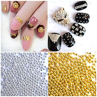 Nail Decoration Beads Mini Metal Beads Gold Silver 3D UV Gel Nail Art Acrylic System Crystal