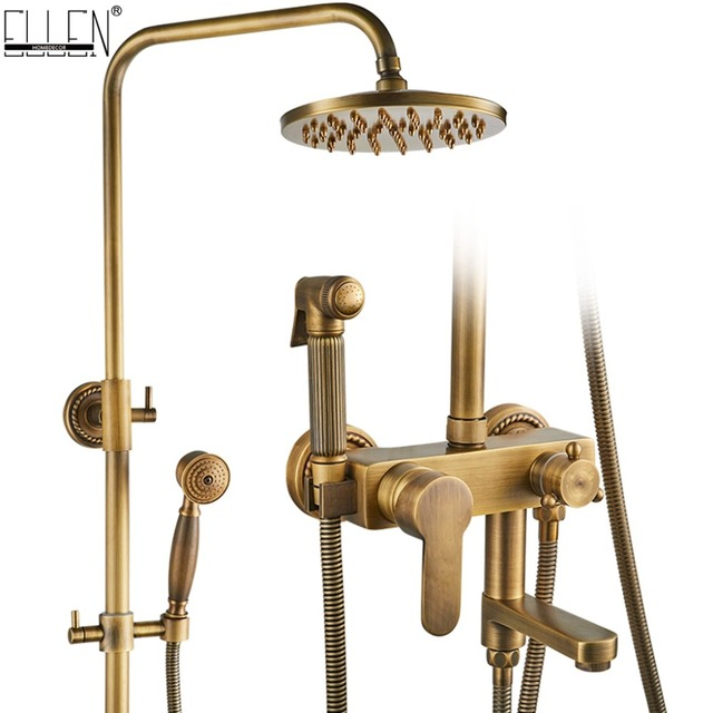 "Rain Shower Set With Bidet Spray Faucet Antique Bronze Finished Bath Shower Sets 8"" Shower Head Shower Faucets EL4010"