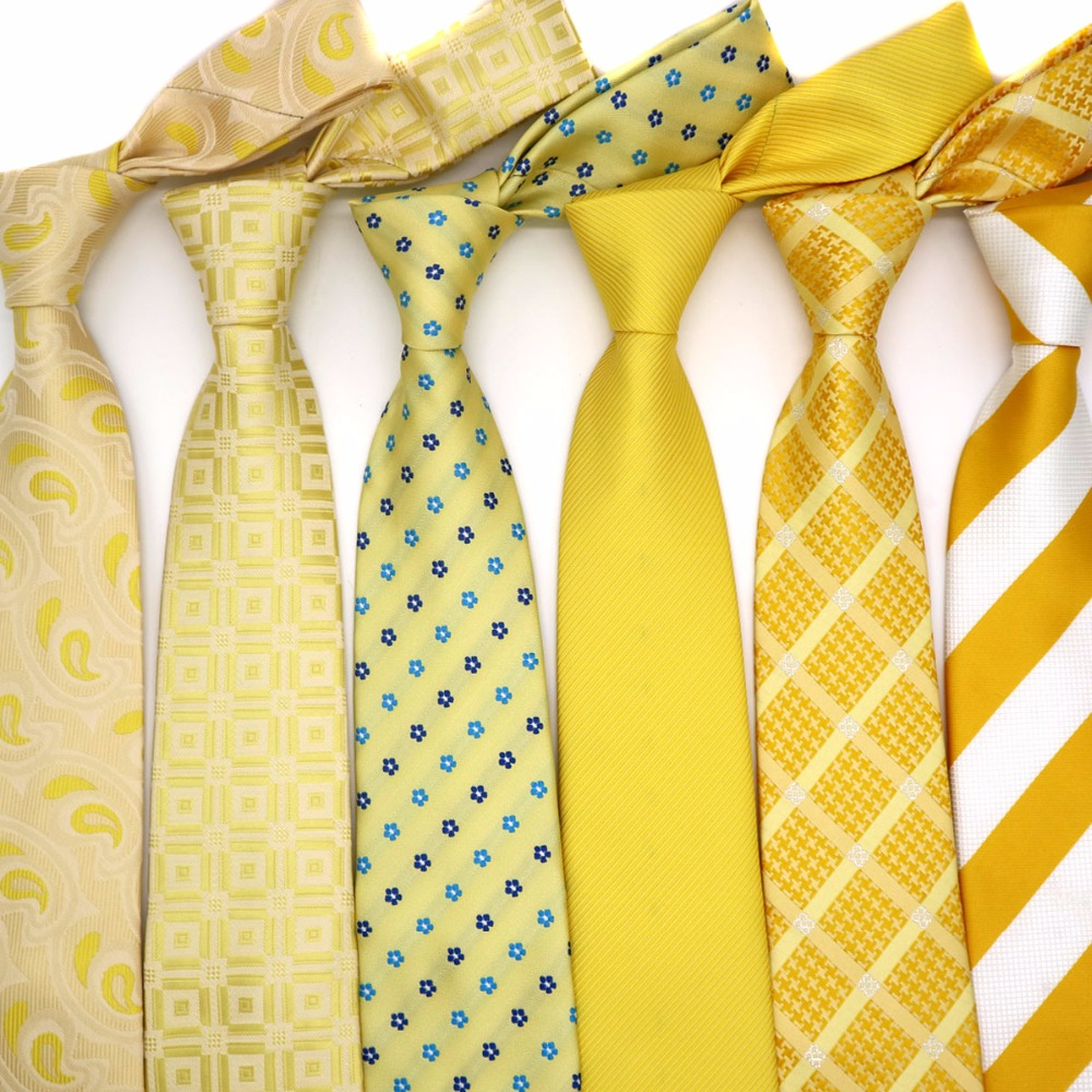 Yellow Classic 100% Silk Mens Ties Various Patter Neckties 8cm Ties Orange For Men Formal Business Wedding Party Gravatas Gift