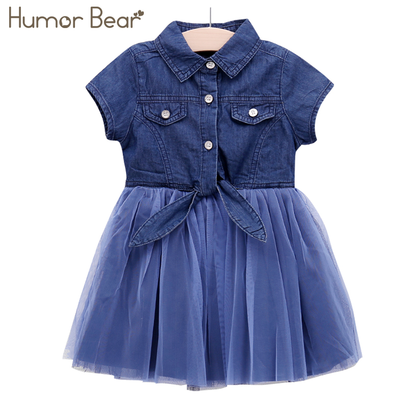 Humor Bear Kids Dress Baby Girl Clothes Summer Dress Fashion Girls Cowboy Dresses Kids Dress Princess Children Clothes 2017 new fashion dresses girls lemon printed dress children sundress baby girl clothes bowknot dress for kids girl dress 2 color