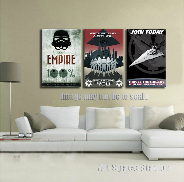No Frame Black and White Poster Star Wars Empire Modern Canvas Wall ...