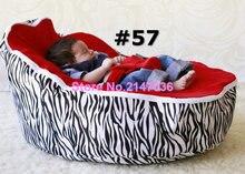 Cadeira do saco de feijão do bebê da zebra vermelha, assento de bebê beanbag dormir, portátil 2 superior tops crianças aconchegar vagens do saco de feijão-frete grátis