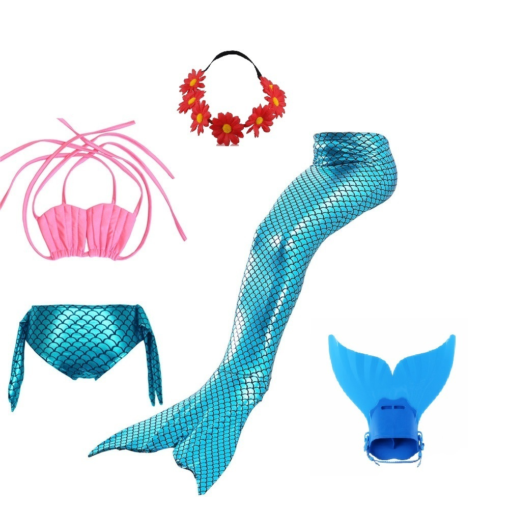 swimmable little mermaid tail costume tails for swimming with monofin  children party swim suit girls baby swimsuit girls kids