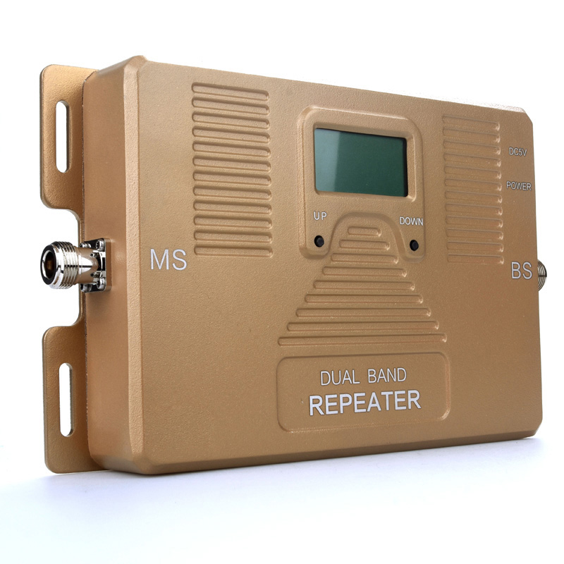 ATNJ dual band repeater 2G 3G 4G Cell phone Amplifier 1800/2100mhz signal booster with LCD screen include 3 indoor antenna