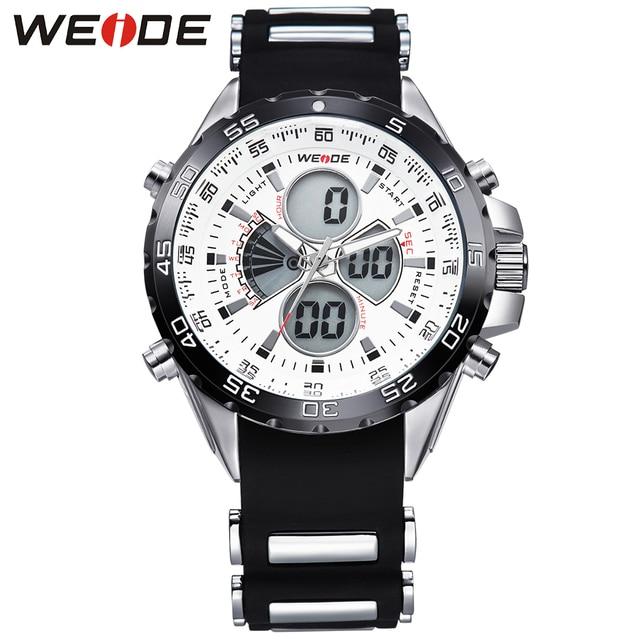 WEIDE Men Sports Watches Brand Quartz Watch Relogio Masculino LCD Digital Display Silicone Strap Alarm Waterproof Wristwatches