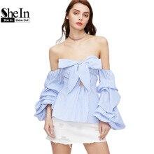 Shein с плеча женщины блузки лук милая ruched рукавом в полоску баски топ голубой длинным рукавом молния назад сексуальная блузка