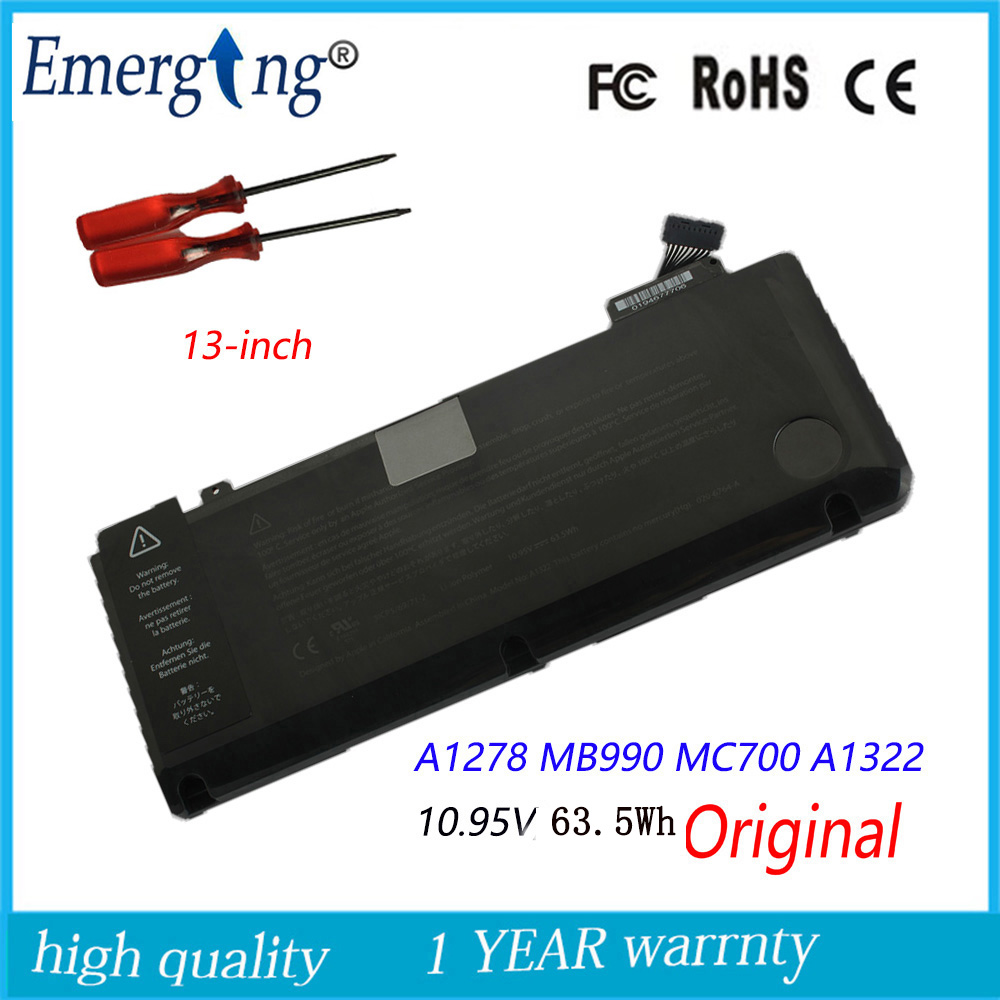 10.95v 63.5Wh New  Original   A1322 Laptop Battery For APPLE Macbook Pro 13