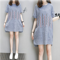 Hodisytian New Fashion Women Dress Summer Cute Short Sleeve Linen Embroidery Straight Mini Dress Vestidos Feminino