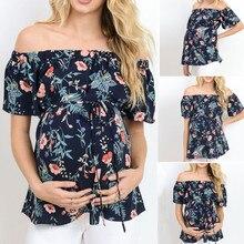 Женские топы с коротким рукавом для грудного вскармливания с открытыми плечами, футболка с цветочным рисунком для беременных, одежда для беременных женщин, женская одежда