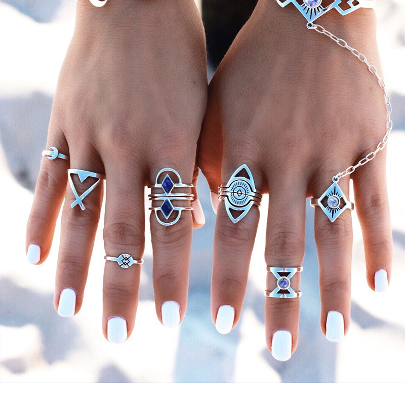 New Fashion 8pcs/Set Vintage Punk Ring Set 2016 Antique Silver Plated bohemia Rings For Women Fashion Beach Jewelry With Quartz