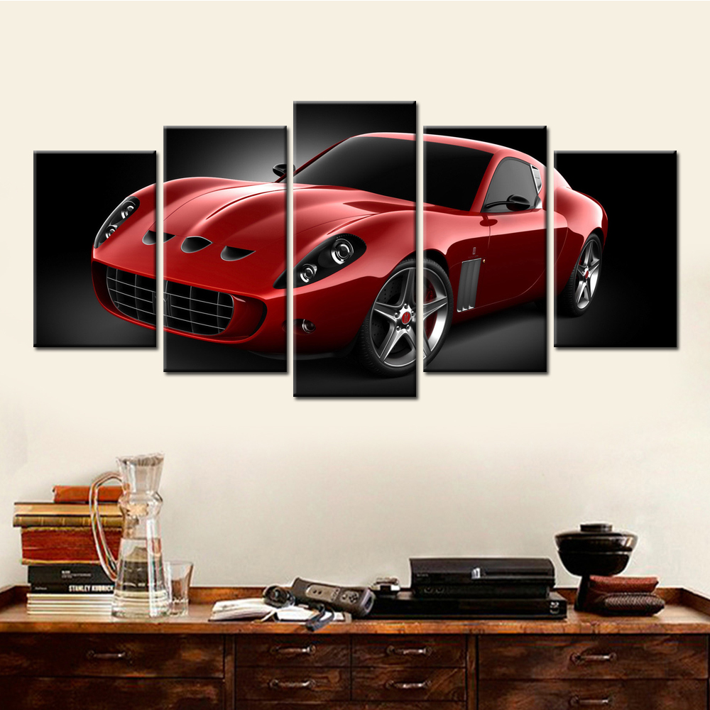 5 pieces drop shipping modern red sports car canvas prints painting home decor frameless wall pictures