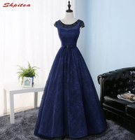 Navy Blue Lace Prom Dresses Long Beaded Women Prom Evening Party Dresses for Graduation Gowns vestidos de formatura
