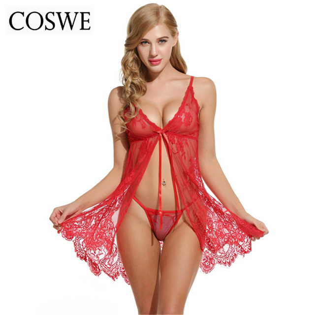 ac838ac32968a COSWE Womens Lingerie Lace Underwear Floral Sexy Hot Erotic Babydoll Dress  Women Short Nightwear Mini Night Gown Sex Clothing