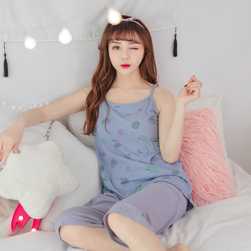 Hot Sale Summer 100%Cotton Women Sling Pajamas Set Round Neck Leisure Big Sixe M-XXL Sexy Female Homewear Clothing Free Shipping