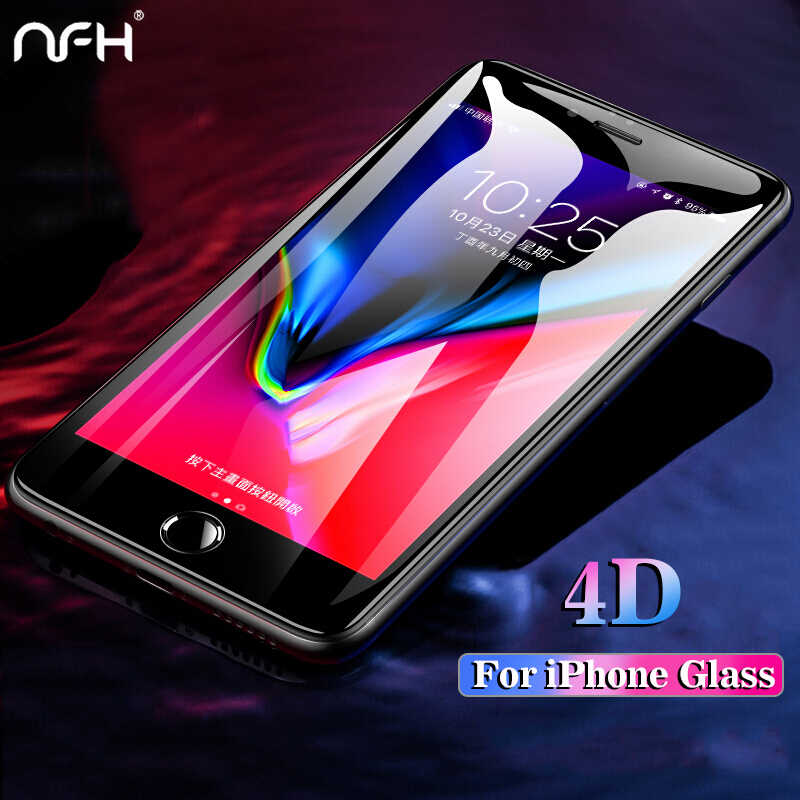 NFH 4D Curved Edge Full Tempered Glass For iPhone 7 8 6 4 D Protective Screen Protector For iPhone 7 8 6 6S Plus X 10 Glass Film