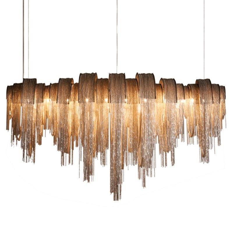 Postmodern minimalist tassel chandelier villa duplex lamps restaurant living room aluminum chain chandeliers