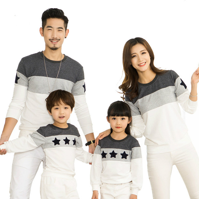 Fall Family Matching Outfits Stitching Star Pattern Mother Kids Girl Boys Shirts Clothes Mom Son