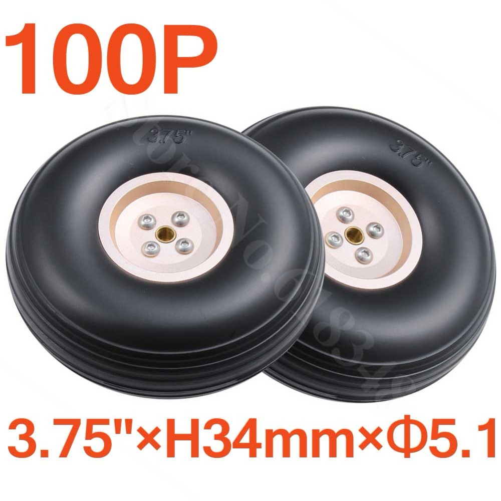 100pcs /Lot 3.75/ 95mm Rubber Tail Wheels Tire Alloy Hub Core Thickness:34mm Axle hole: 5.1mm For RC Airplane Parts