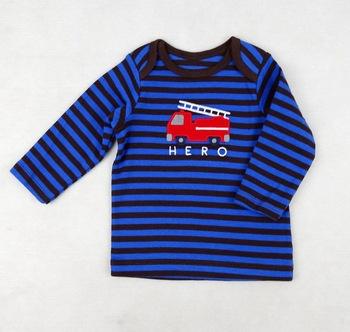 Wiosna jesień niemowląt koszulka z długim rękawem samochód haft T koszule chłopięce dziewczyny koszulki dla dzieci dzieci ubrania w paski koszulki tanie i dobre opinie Topy Tees Moda COTTON Boys baby Pełna O-neck Pasuje prawda na wymiar weź swój normalny rozmiar Stripe lette Long Sleeves