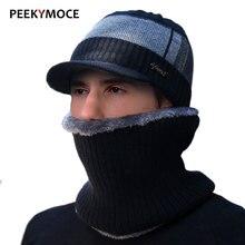 Winter Hats For Men Skullies Beanies Female Gorras plus velvet Women Scarf Cap set Balaclava Mask Gorras Bonnet male Knitted Hat