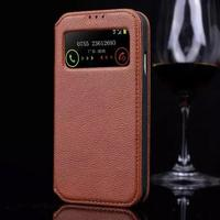 Luxury Real Genuine Leather Case For Samsung Galaxy S4 SIV I9500 Flip Fashion View Window Stand
