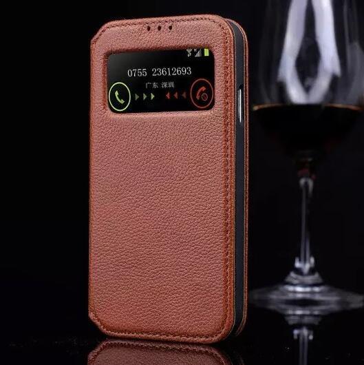 Deevolpo高級リアル本革ケース三星ギャラクシーs4 siv i9500フリップファッションビューウィンドウスタンドデザインカバーバッグ