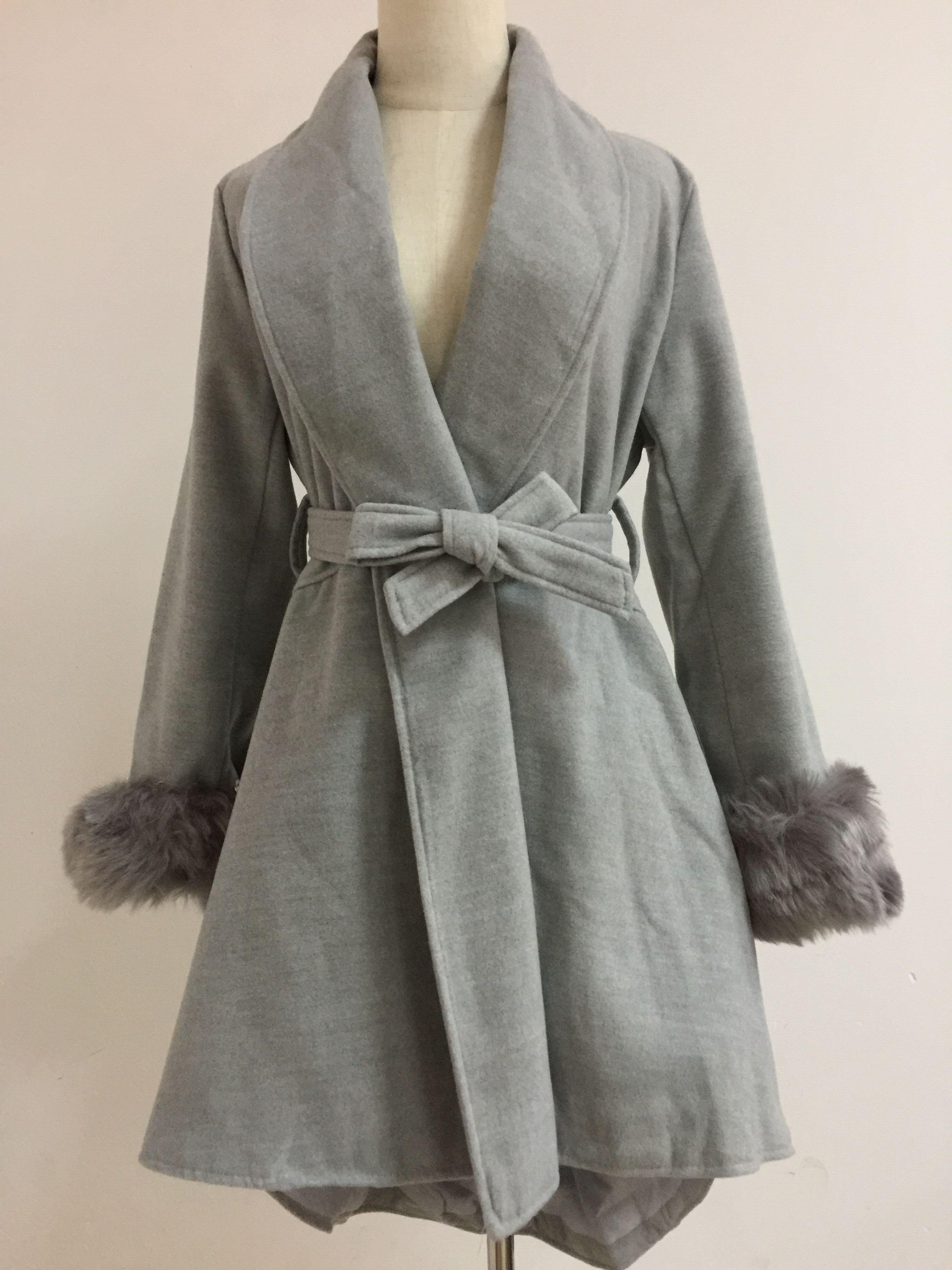 08669ac34b8 0 0 Plus Size 4XL Elegant Slim Women Long Wool Blend Coat Solid Faux Fur  Collar Detachable Jacket Autumn Winter Office Lady Coats-in Wool   Blends  from ...
