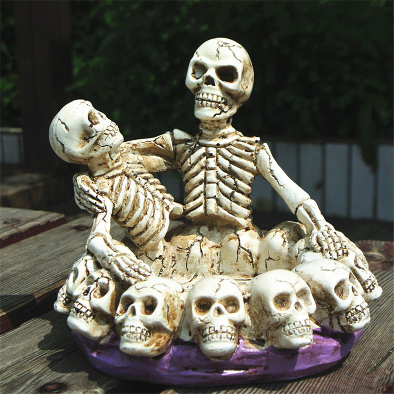 Free shipping Skeleton Lover Brother Loner 1pc Figure toy cake modern punk home office car decoration ash tray party supply gift