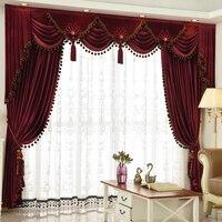 Custom curtain Luxury European thicken red color wedding room Italy velvet cloth blackout curtain valance tulle E915